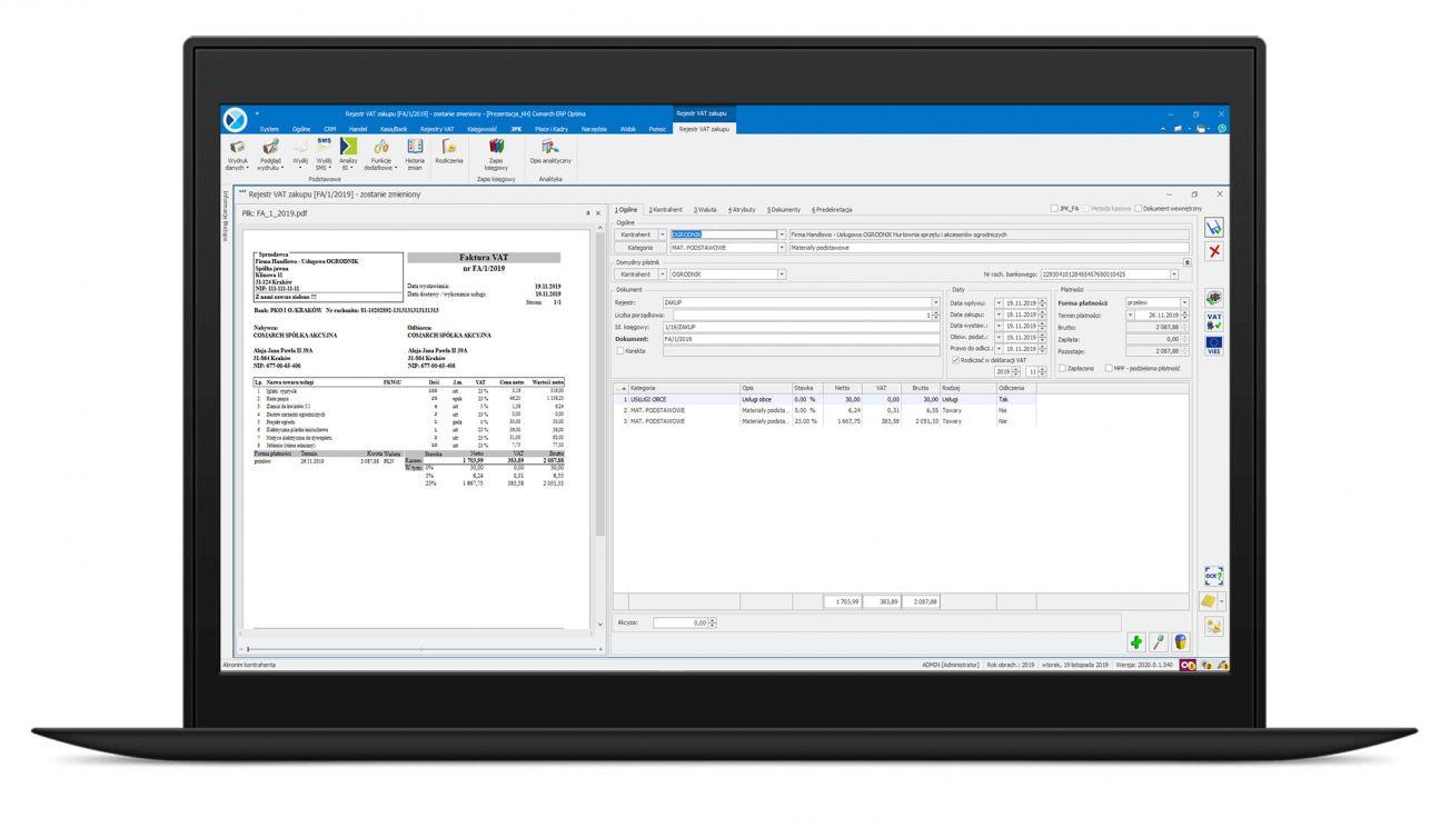 OCR do faktur zintegrowane z systeme Comarch ERP Optima, XL i XT